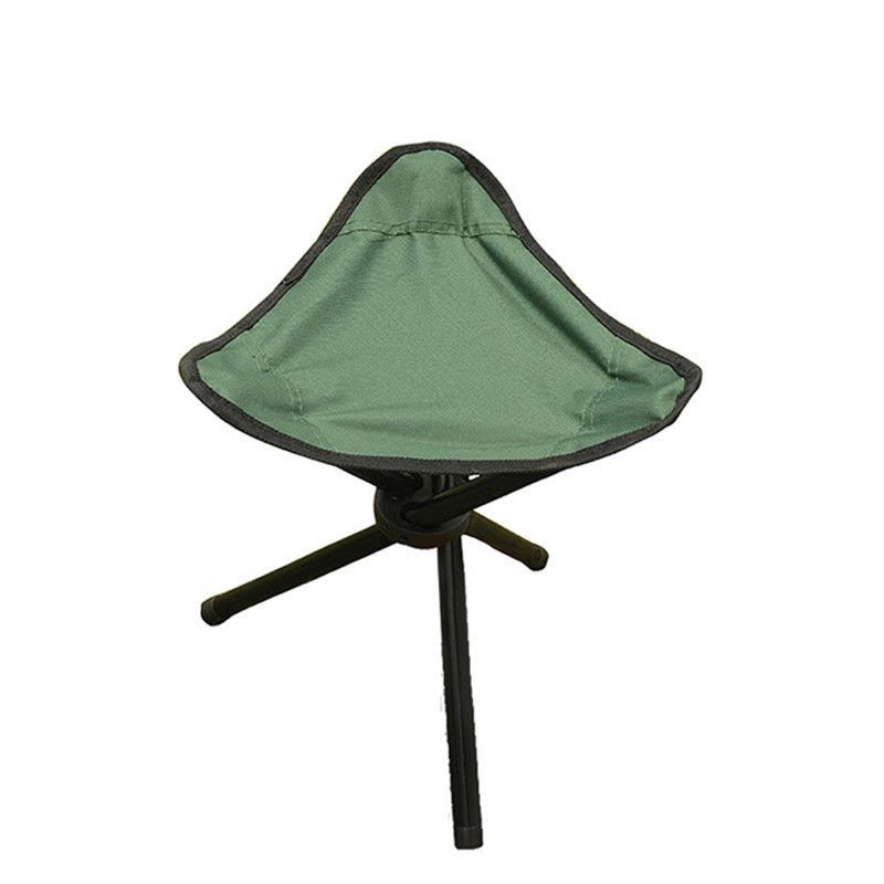 Green Outdoor Chair Stools Portable Foldable Triangular