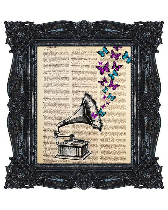 Purple and Blue Butterflies, Gramophone,  Phonograph, Dictionary Art Print, Printed on Vintage Dictionary Paper, Upcycled, 8x10 Print (#148)