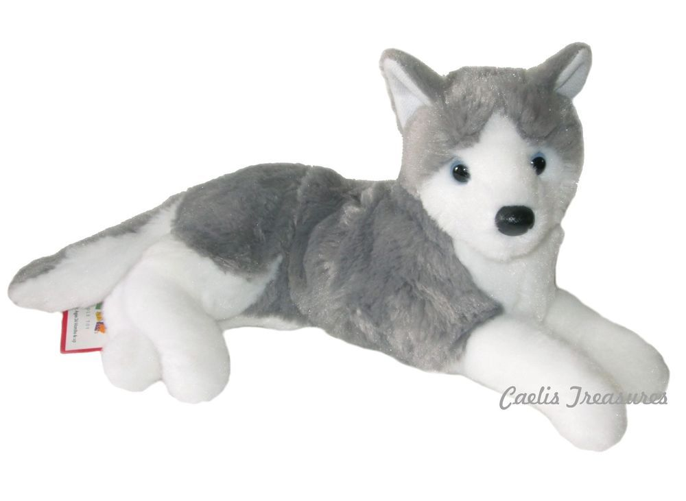 Douglas Glacier Husky 15 Lying Plush Stuffed Siberian Alaskan Dog