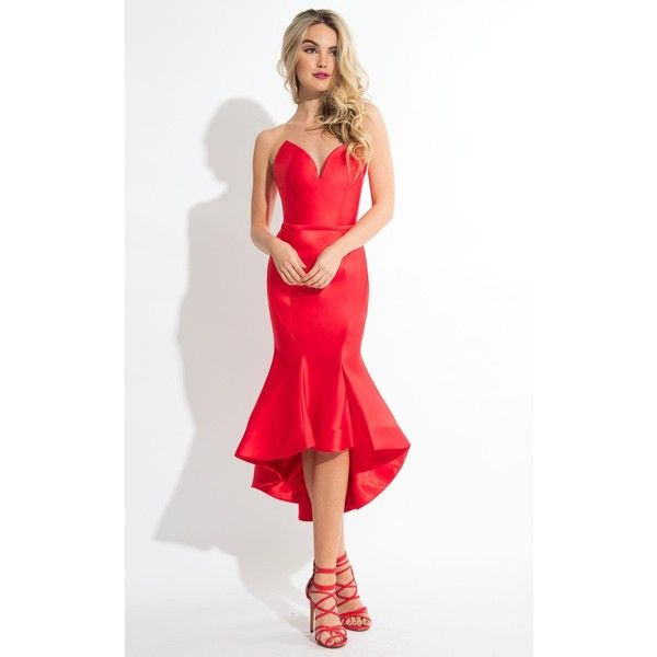 Rachel Allan L1069 Prom Under $300 High-Low Strapless Sleeveless ($258) ❤ liked on Polyvore featuring dresses, cocktail dresses, red, strapless prom dresses, red cocktail dress, prom dresses, red dress and white cocktail dress