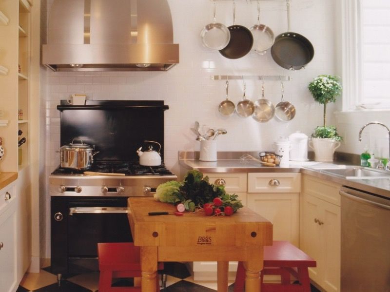 Kitchen Wooden Butcher Block With Simple Wood Chair Creates Small Classy Small Kitchen Island Ideas Design Decoration