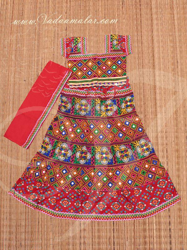 77767eb9d41b Children's Embroidered Girls Rajasthani Skirt Blouse India Indian Dance  Lehenga Choli Costume