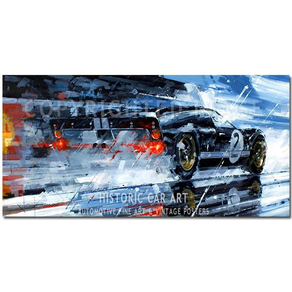 Third Time Lucky Ford Gt40 Le Mans 1966 Original Painting By