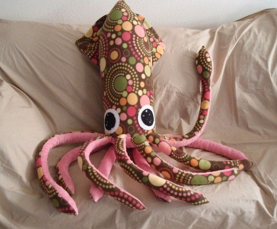 Cupcake the Giant Spotted Brown Fleece Squid  Large by squidsinc, $125.00