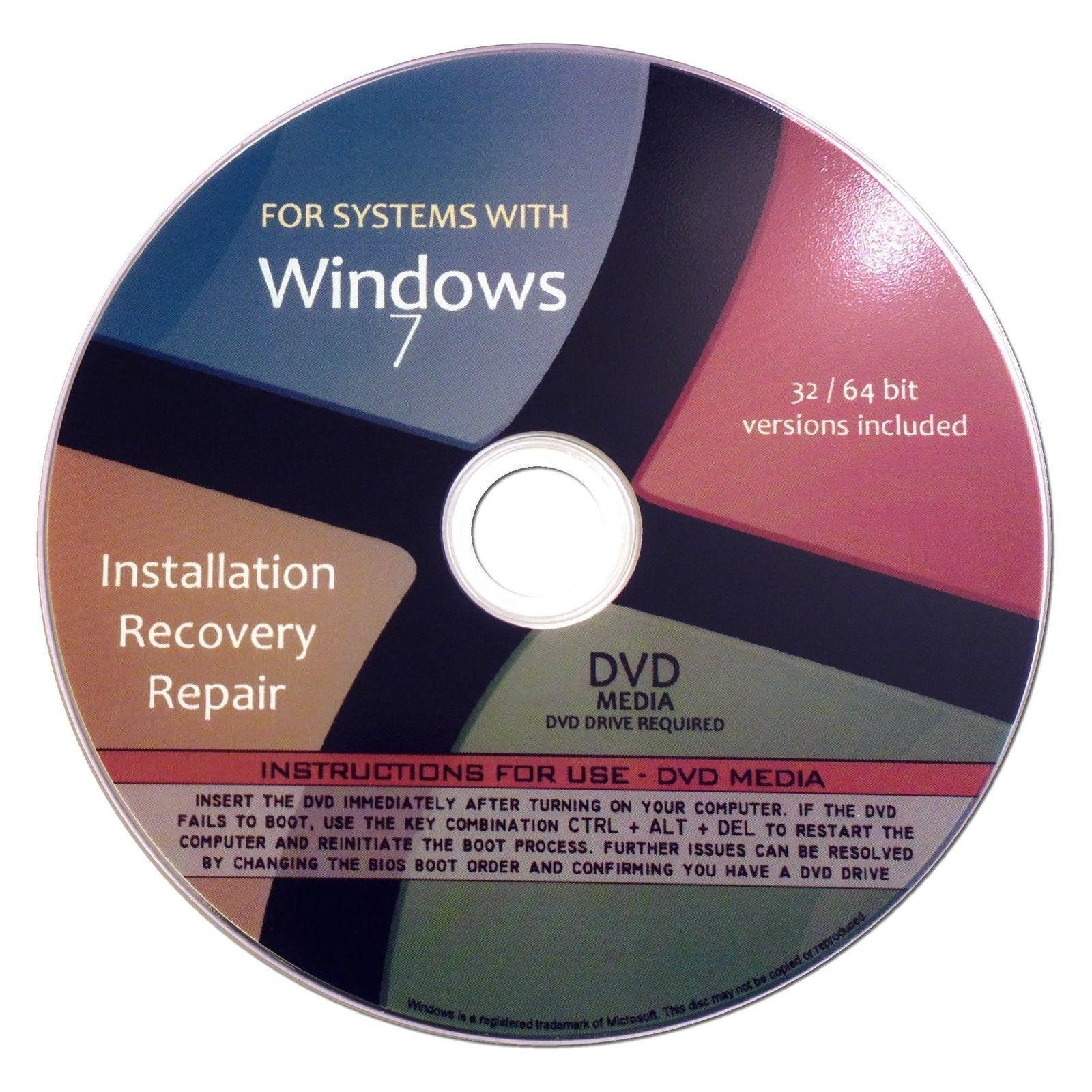 Windows 7 Home Premium 32/64-Bit Reinstall Reinstallation Re