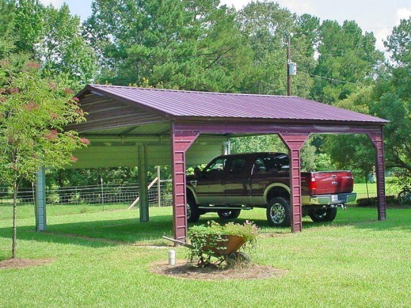 Vertical Roof Side Entry Double Carport for (2) MidSize
