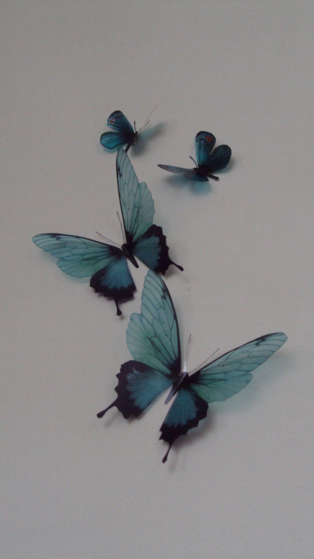 4 Luxury Amazing Teal Blue Butterflies 3D Butterfly Wall Art & 4 Luxury Amazing Teal Blue Butterflies 3D Butterfly Wall Art ...