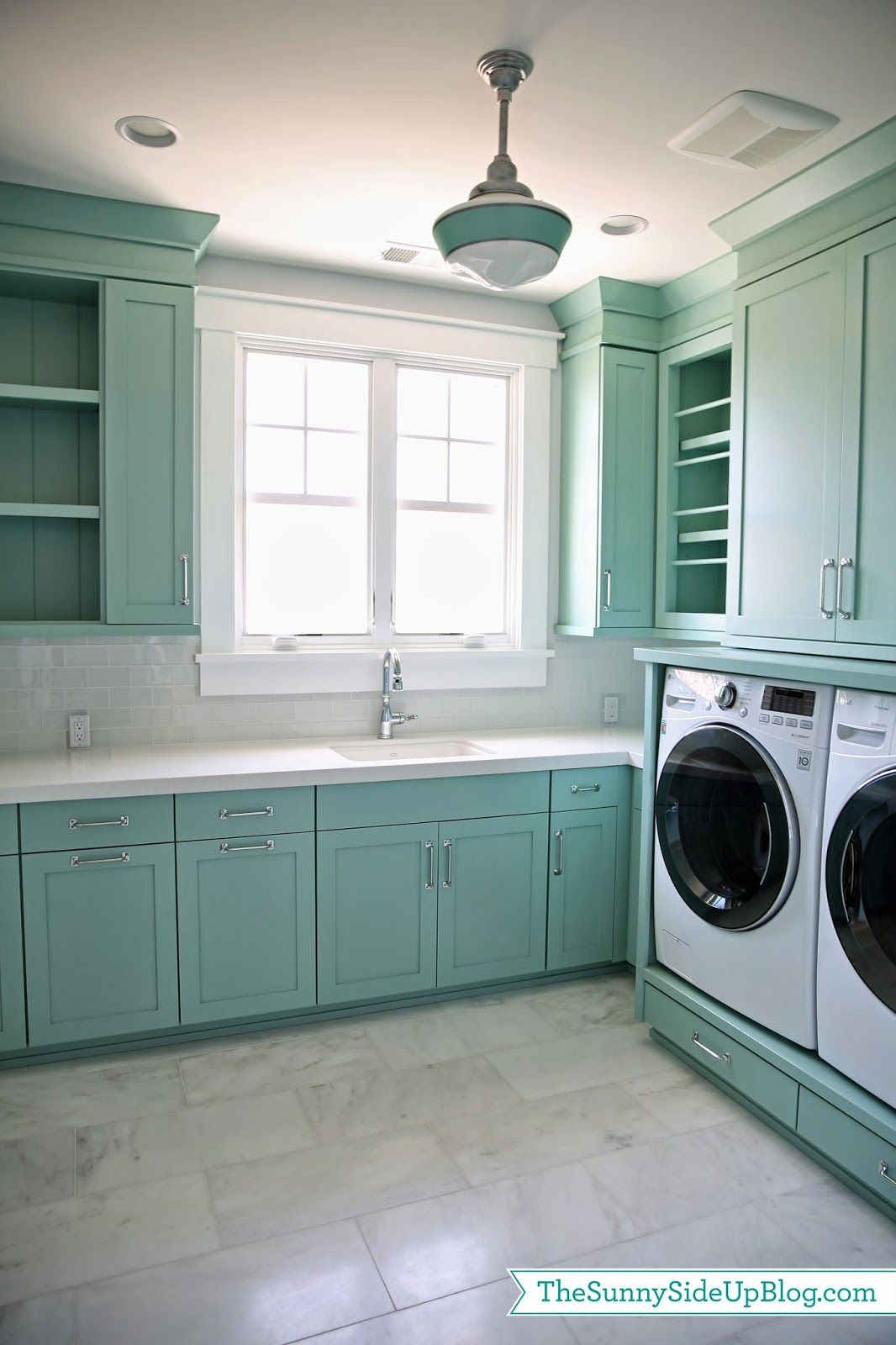 Blue-gray laundry room cabinet paint color. Blue-gray laundry room ...