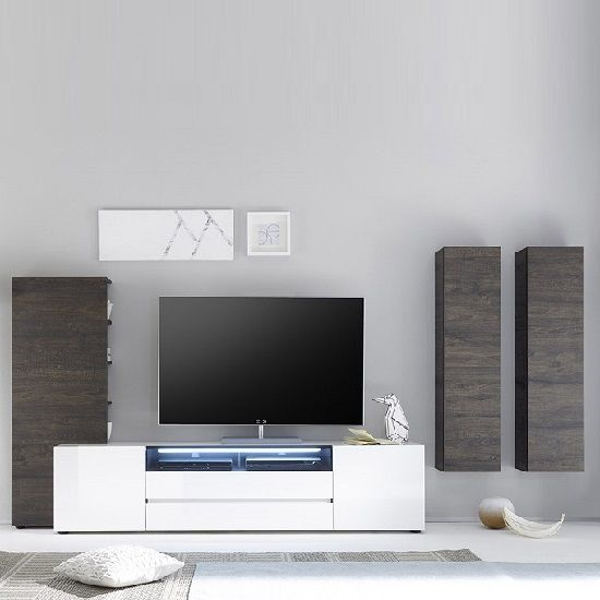 Genie Living Room Set 4 In White High Gloss And Wenge With Led Furniture In Fashion Living Room Sets Living Room Sets Furniture Room Set