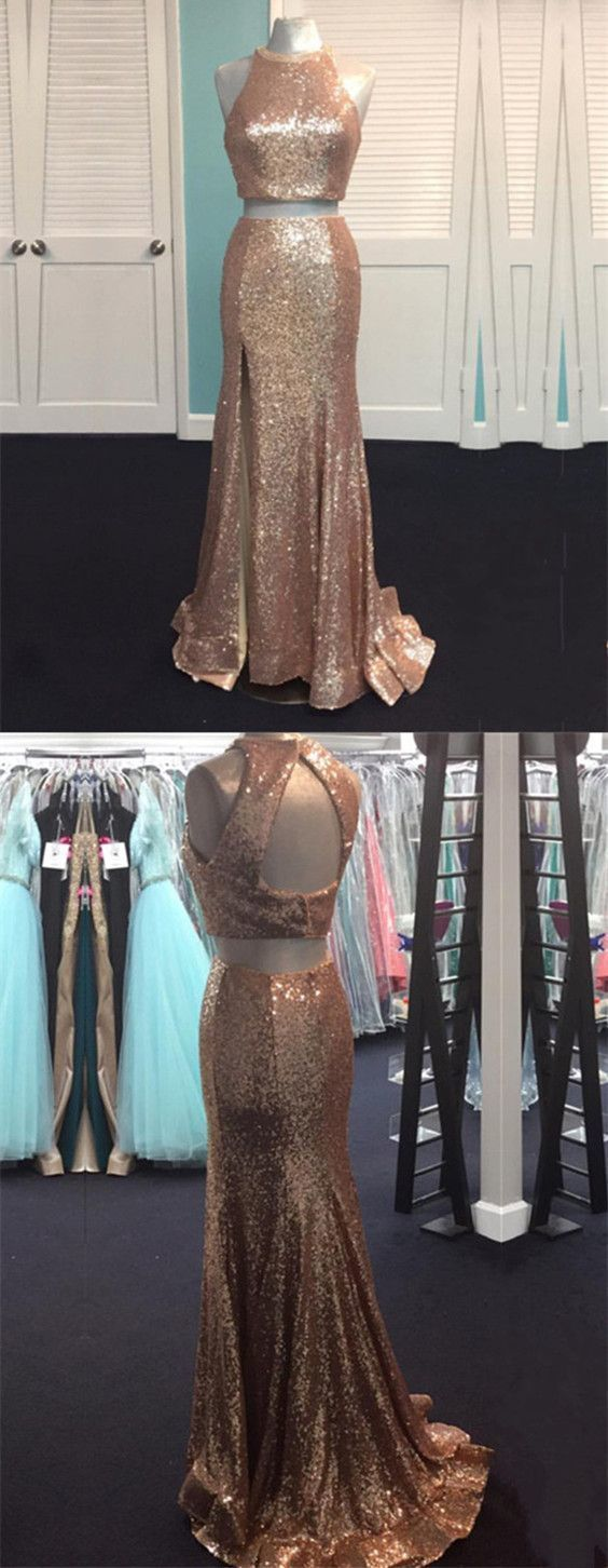 Rose gold sequin mermaid prom dresstwo piece prom dresssequin