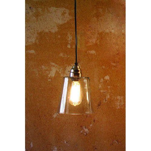 Kalalou Electric Mini Pendant Lamp w/ Seven-Inch Diameter Glass ...