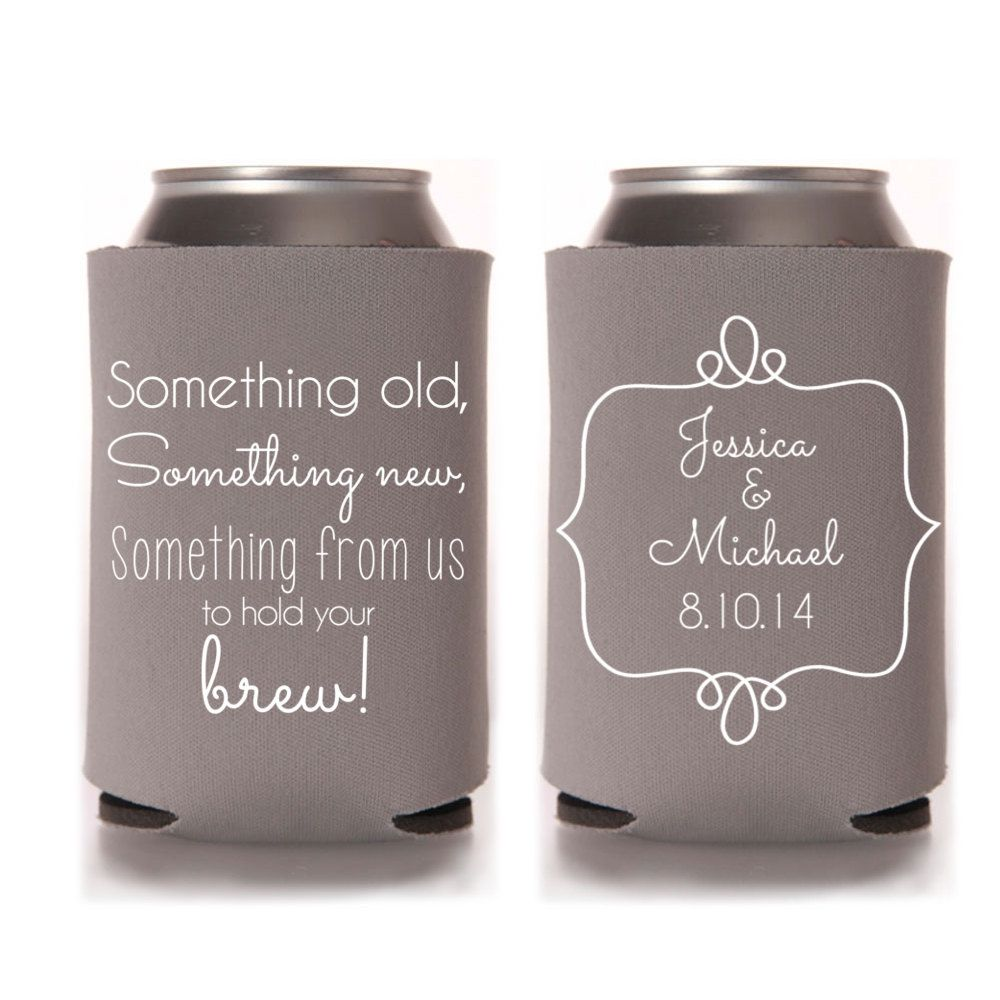 Fall Wedding Favors Personalized Something Old New Can Coolers Rustic For Guests Destination Stubby Holders