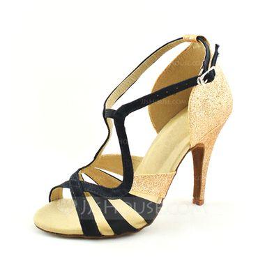 Frauen Satin Funkelnde Glitzer Heels Sandalen Latin mit Schnalle Tanzschuhe (053046898) - JJsHouse