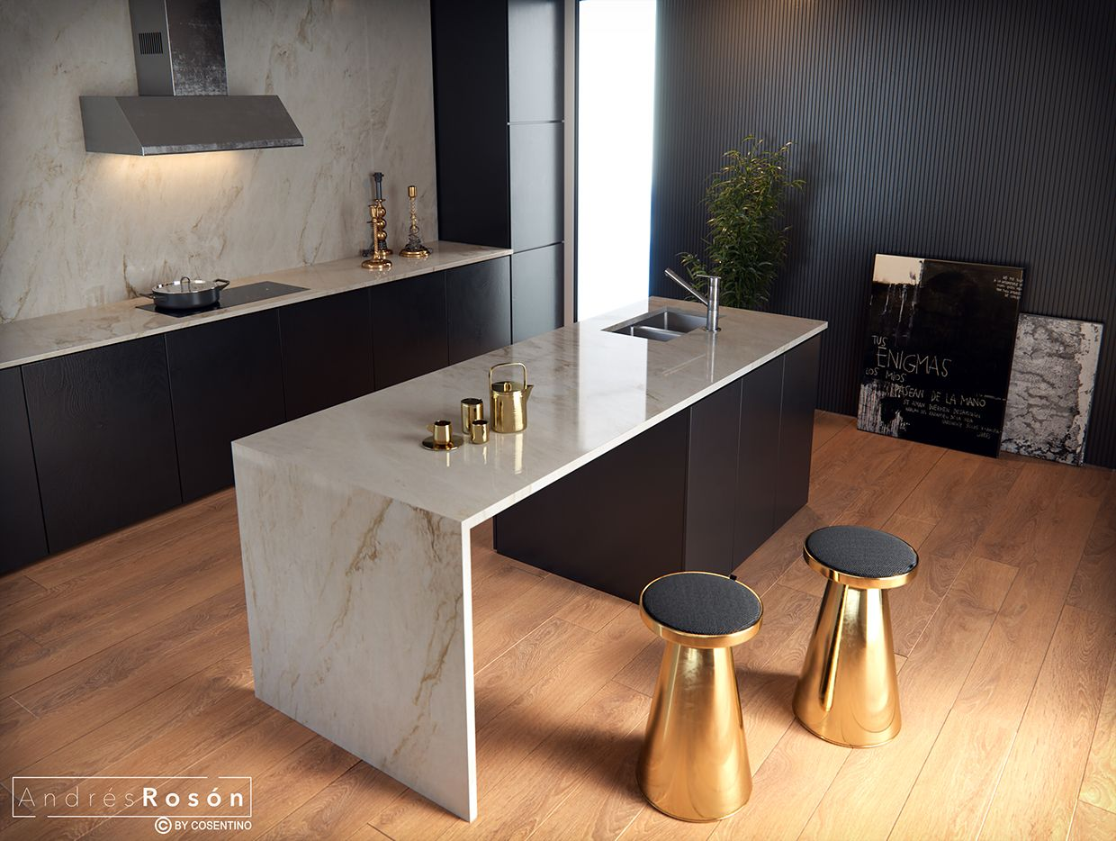 Plan De Travail En Marbre Noir Sens Space Cgi | Appart | Kitchen Countertops, Kitchen Et