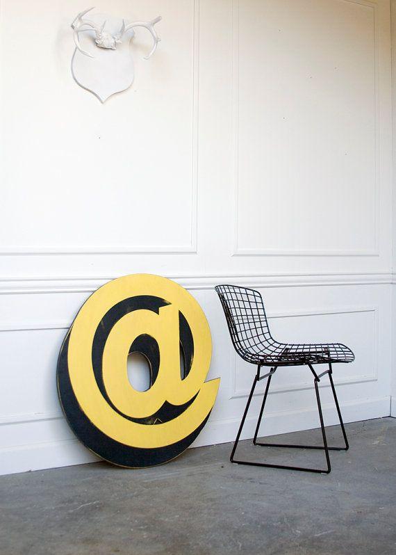 Sign Letter At Symbol Vintage Inspired Wood By Edieslab On Etsy