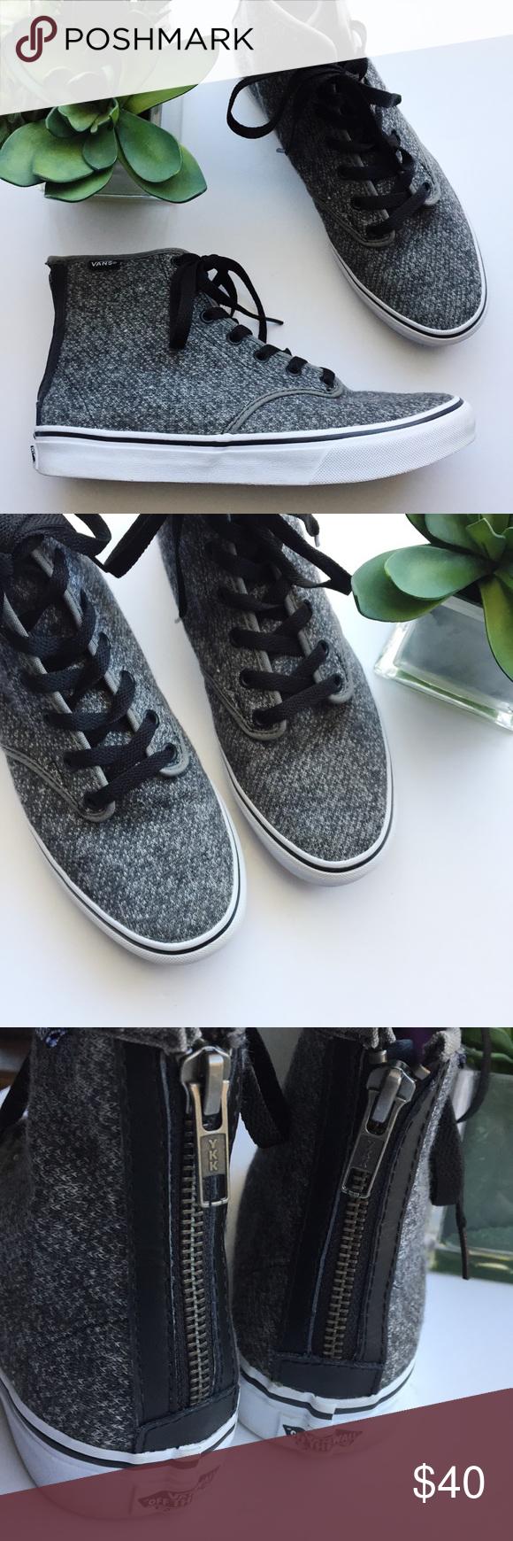 271d714f16 Vans Women s Sk8-Hi Zip Grey Tweed Camden Sneakers Vans Sk8-Hi Zip Grey Tweed  Camden Slim Skate Shoe