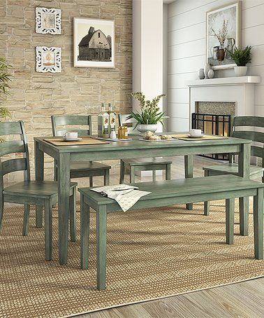 Dark Sea Green Ladder Back Chair Six Piece Dining Table Set #zulily  #zulilyfinds