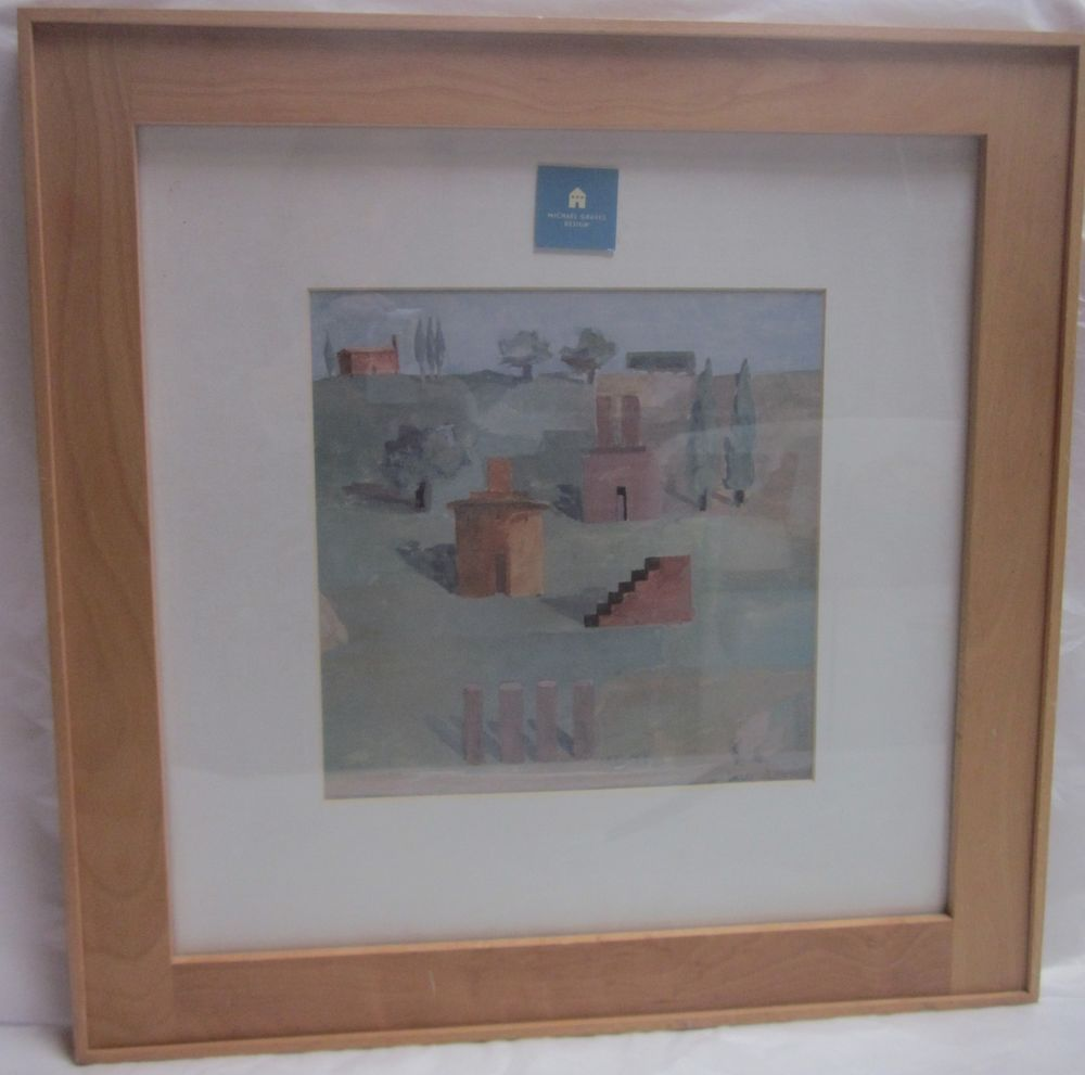 Michael Graves TUSCAN LANDSCAPES 1985 One in Series Framed Under Glass 19.5 Sq.