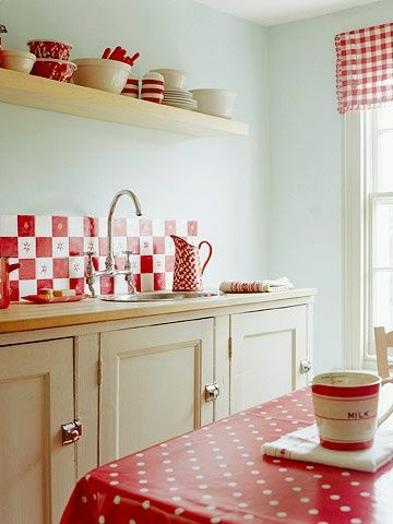 Red and White kitchen for MRecia! Home Pinterest Kitchens