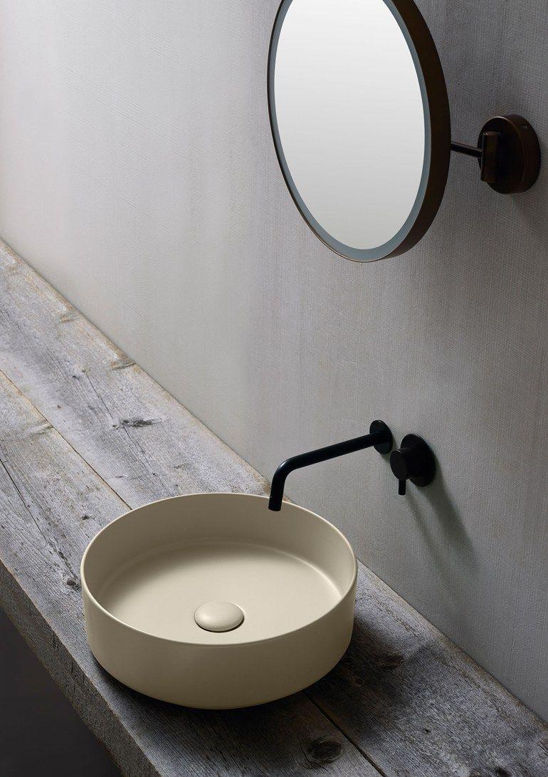 Lavello Bagno Da Appoggio lavabo da appoggio rotondo in ceramica shui comfort | lavabo