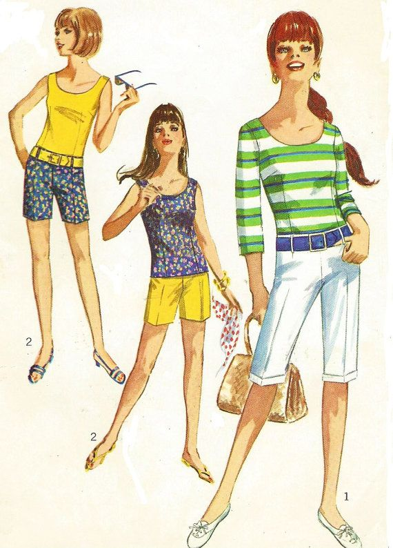 1960s Teen Hiphugger Pants in 2 Lengths and Blouse Simplicity Sewing ...