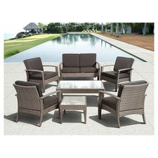 Atlantic Java 7 Piece Lounge Seating Group with Cushions