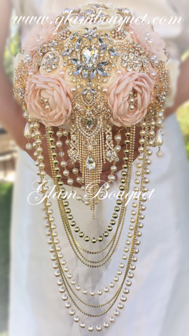 Pink Gold Ivory Brooch Bouquet Full Price 595 Usd