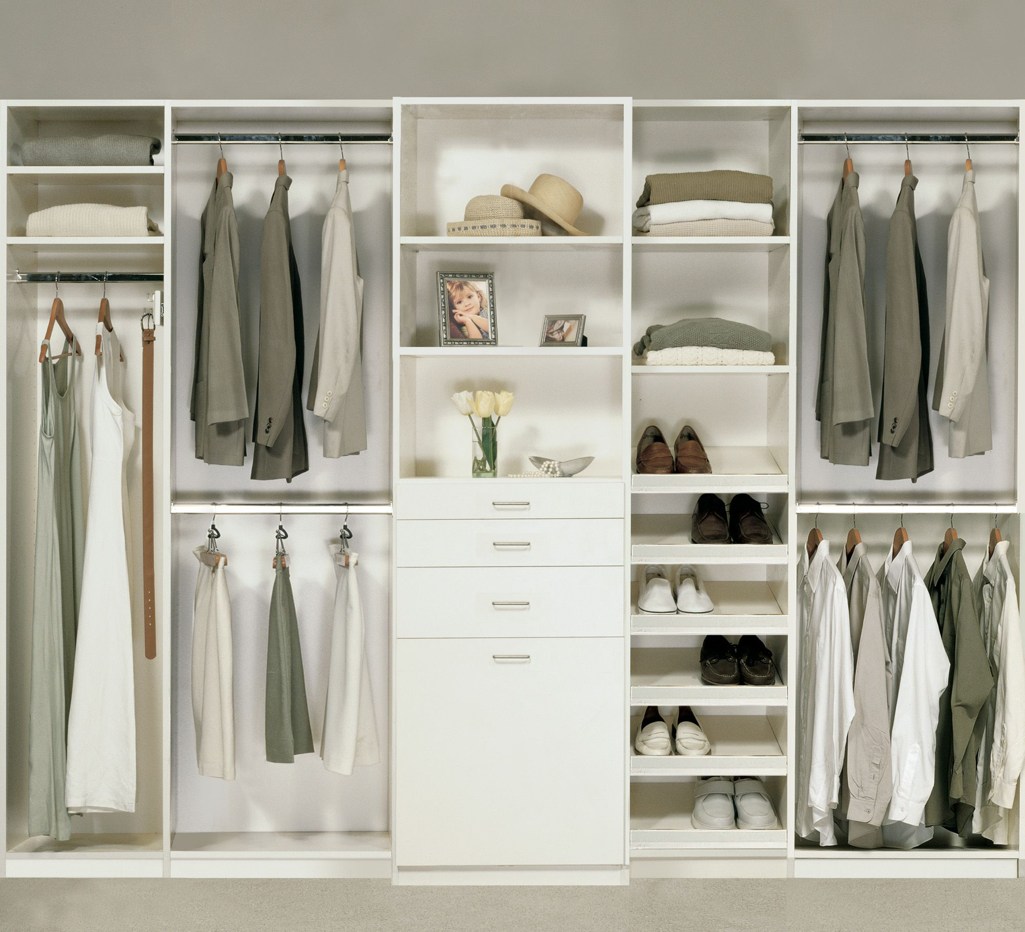 Bedroom Closet In An Antique White finish Melamine With Tilt Out Hamper,  Slanted Shoe