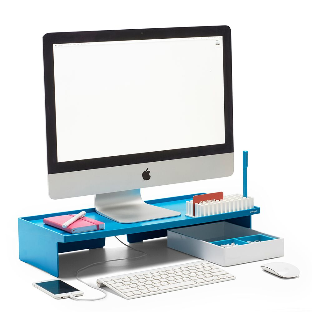 cool office supplies. Poppin Pool Blue Monitor Riser | Modern Desk Accessories Cool Office Supplies #workhappy O