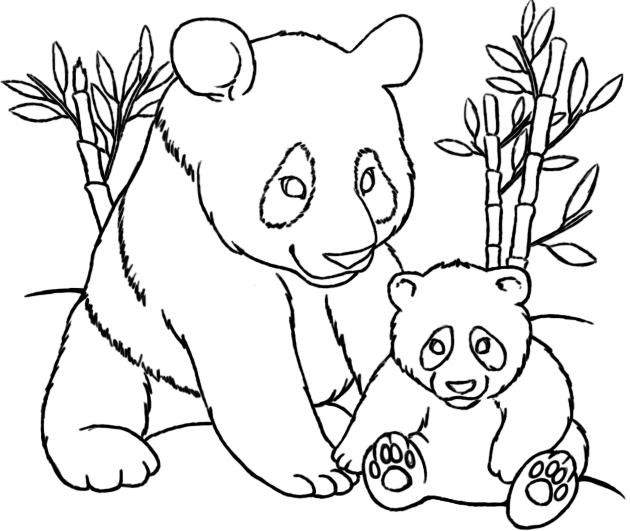 Mom And Baby Panda Coloring Pages  Kids Coloring Pages