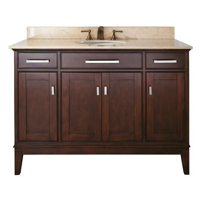 Avanity Madison 48 Inch Vanity With Black Granite Top And Sink In Light Espresso Finish