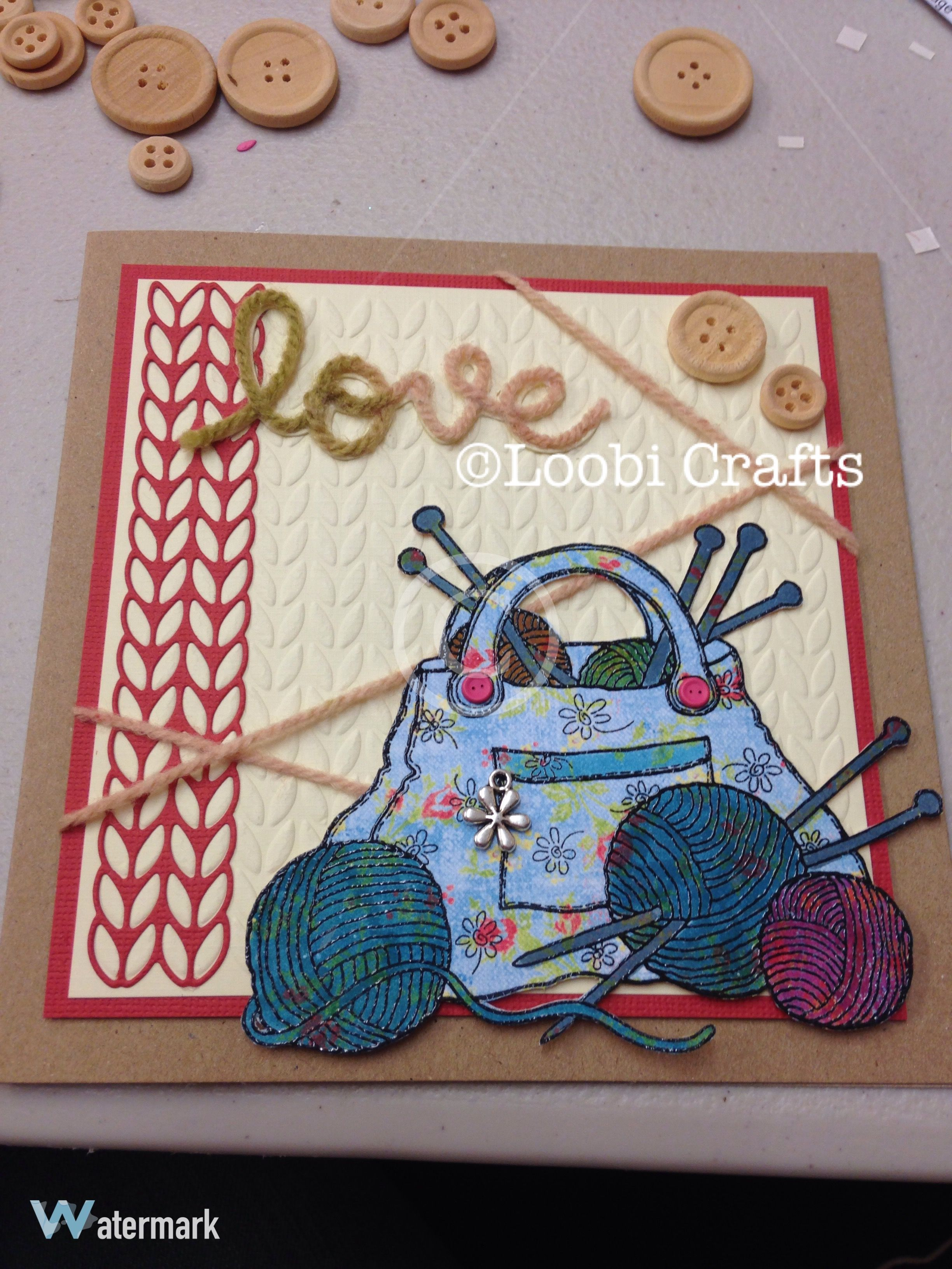 loobicrafts Woodware knitting bag and ball of wool stamp with ...