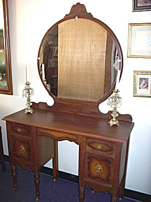 American Hundred Year Old Vanity Dresser Round Mirror Old Vanity Refinishing Furniture Cozy House