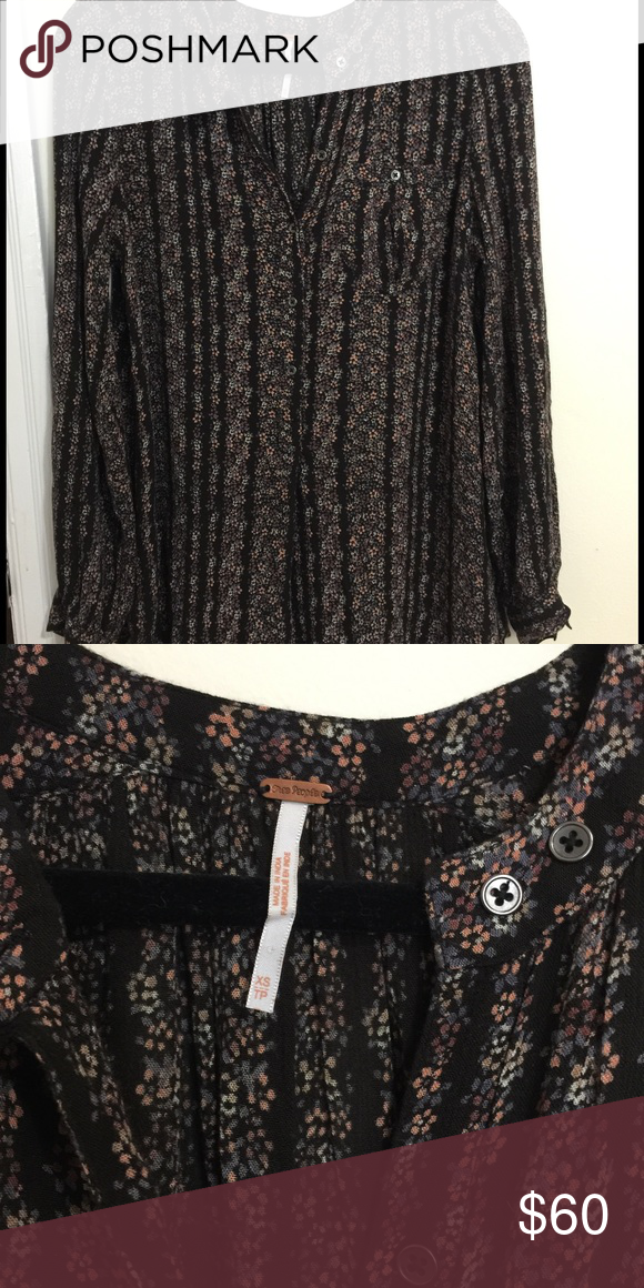 Free people top Floral free people black tunic Free People Tops Blouses