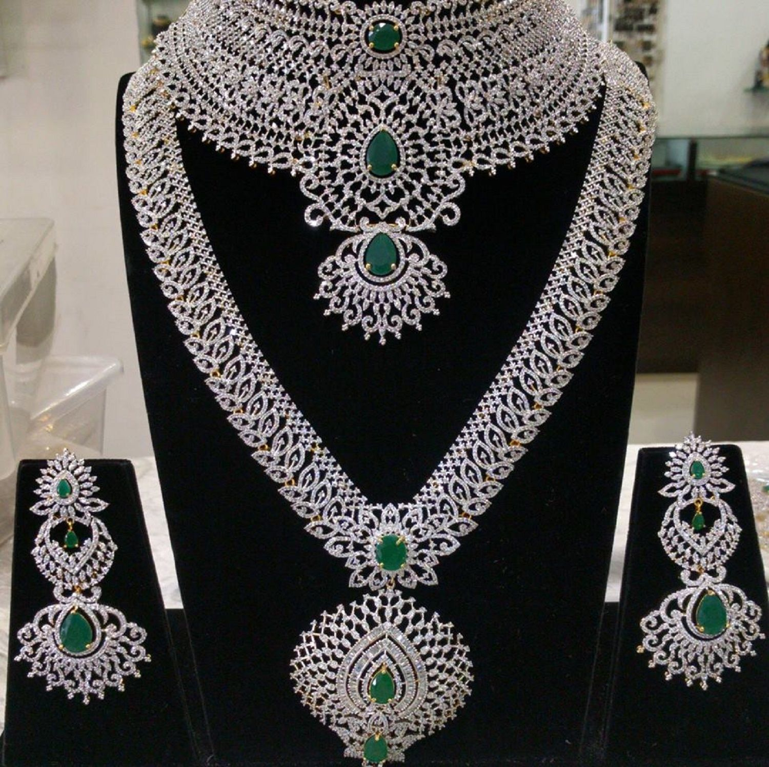 48a5b76134 The Grand Bridal Set with a Broad Collar Choker, Long Necklace and  Earrings(Push Style) in American Diamonds & Emeralds (1gm Gold) - Indian  Wedding Jewelry ...