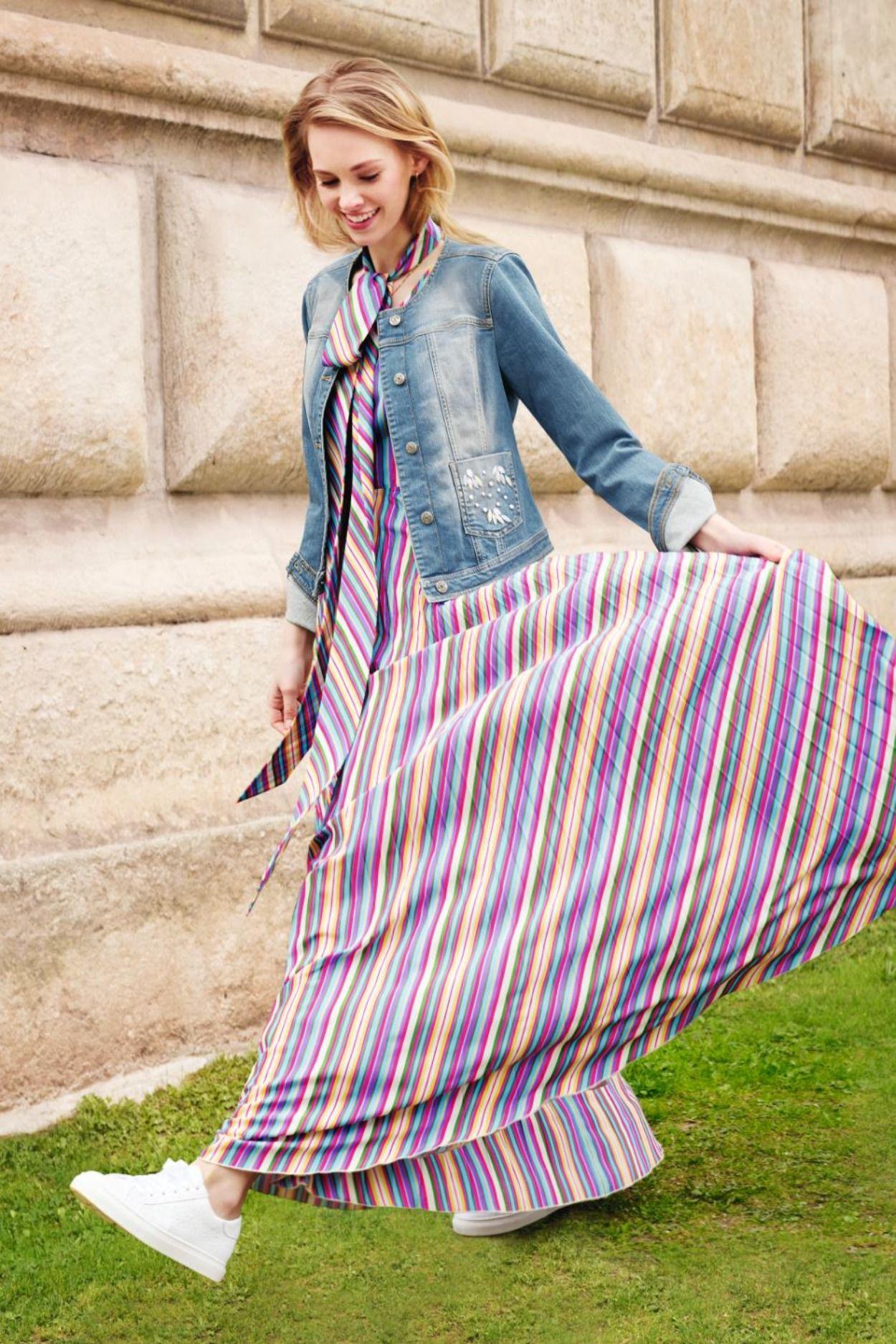 Kleid mit weitem Rock l MADELEINE Mode  Kleid punkte, Mode, Kleider