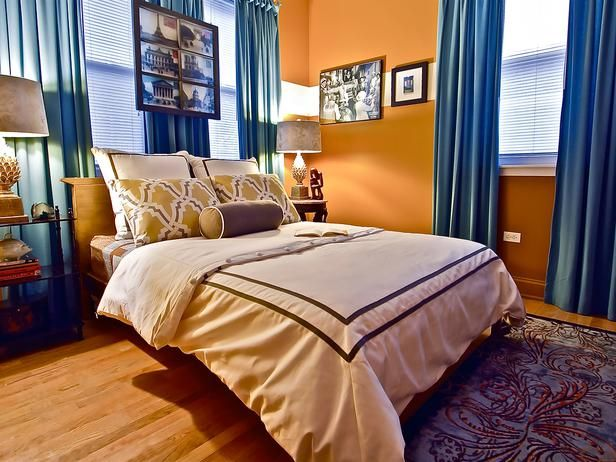 I Love This Bedroom Desgin Also Note To Self Warm Orange Ish Tones And Blue Accents Can Work And Loo Orange Bedroom Walls Bedroom Orange Blue Master Bedroom