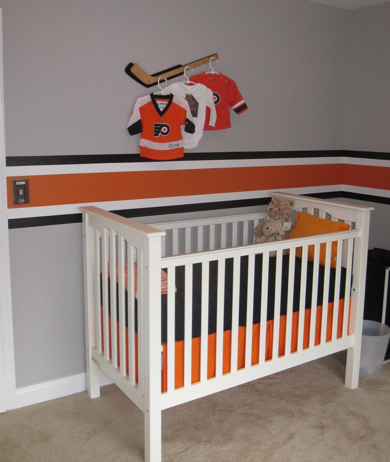 When My Husband I Found Out We Were Expecting A Baby Boy Had To Own Up Promise Of Designing Philadelphia Flyers Nursery
