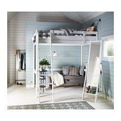 IKEA - STORÅ, Loftsengestel, hvid bejdse, , Du kan udnytte pladsen under sengen til opbevaring, arbejdsplads eller siddeplads.Stigen kan monteres i højre eller venstre side af sengen.Fremstillet af massivt træ, der er et holdbart og varmt naturmateriale.