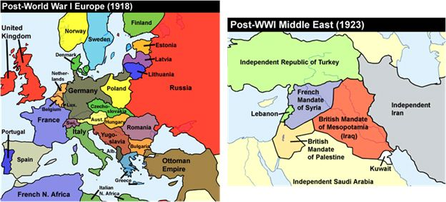 Maps Of Europe And Middle East Following The Resolution Of World War