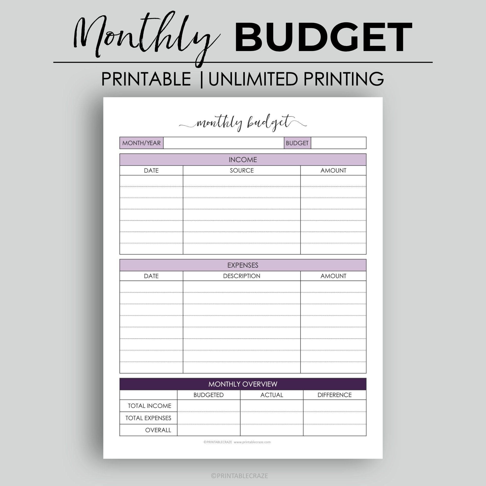 Classic Hp Monthly Budget Expense Tracker Income Tracker
