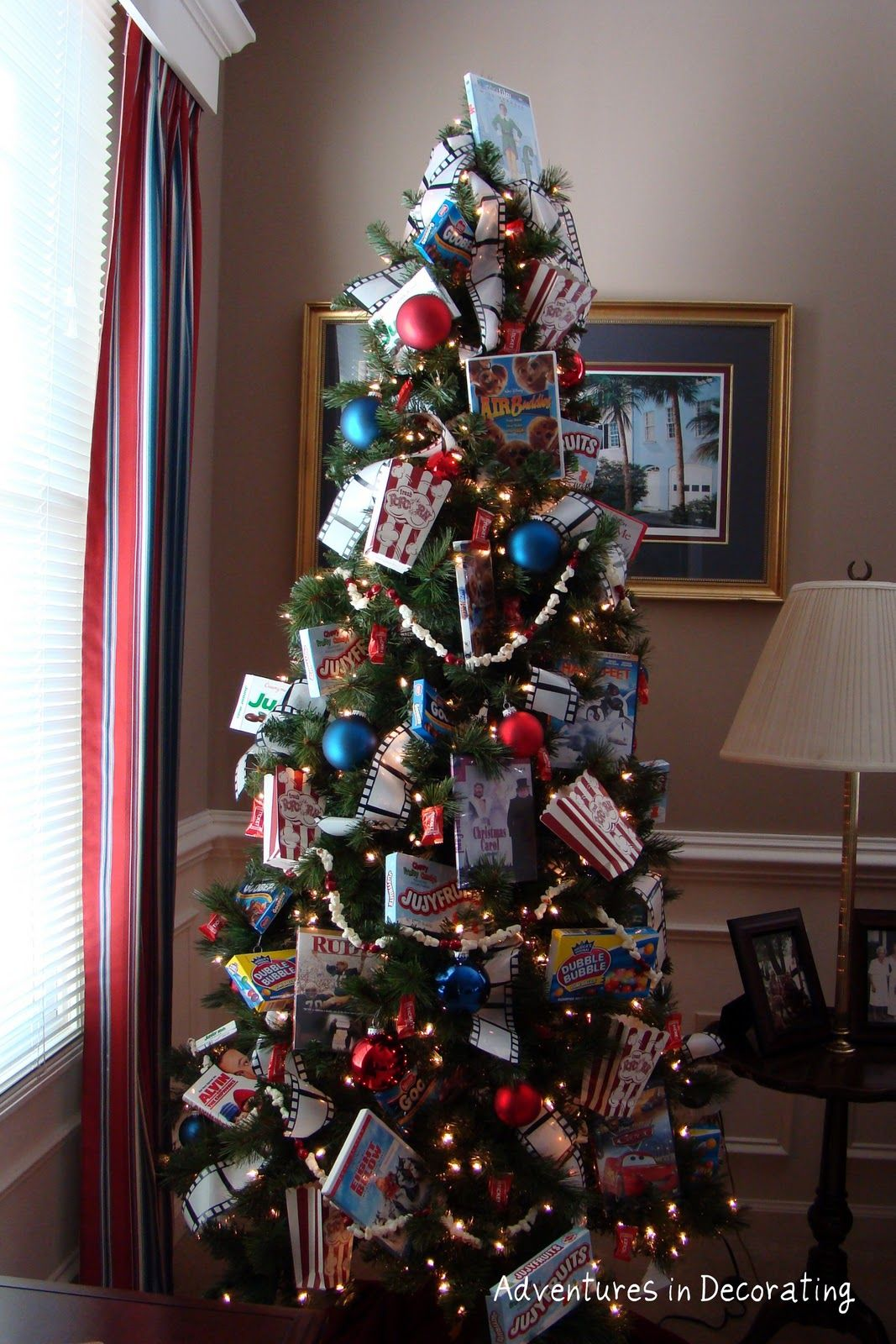 movie themed tree for the upstairs den Christmas tree
