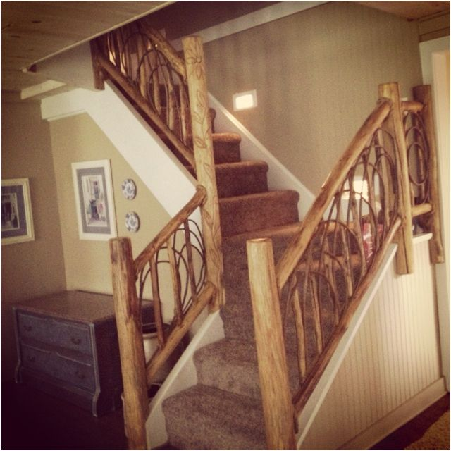 Best Rustic Log Staircase In Updated Remodeled Michigan 400 x 300