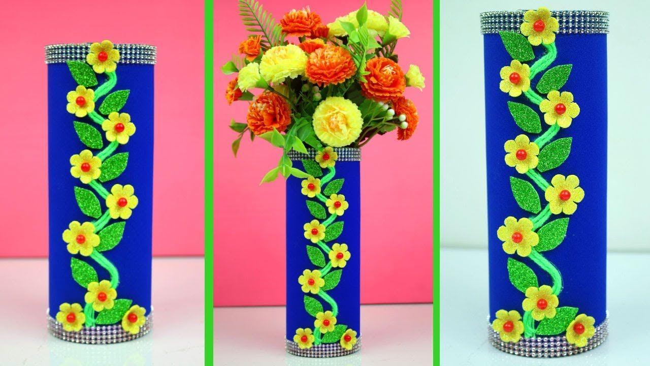 Diy Flower Pot Best Out Of Waste How To Make Flower Vase From Waste Ma Handmade Flower Pots Diy Flower Pots Flower Making