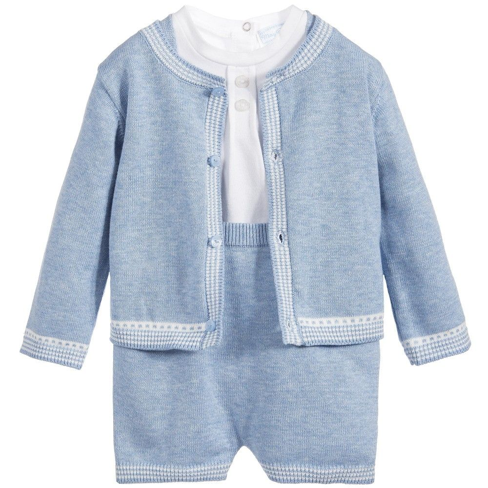 Baby Boys 3 Piece Blue Knitted Shorts Set | Babies, Babies clothes ...