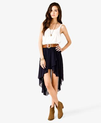 56f3970489 High-Low Tulip Skirt | FOREVER 21 - 2027536747 this outfit with the boots  from work...omg cute