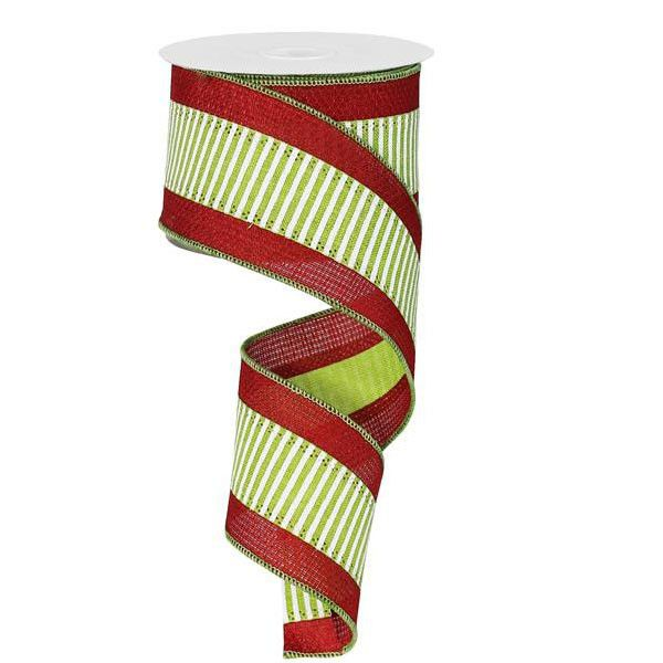 "2.5"" Lime Horizontal Stripe Red Border"