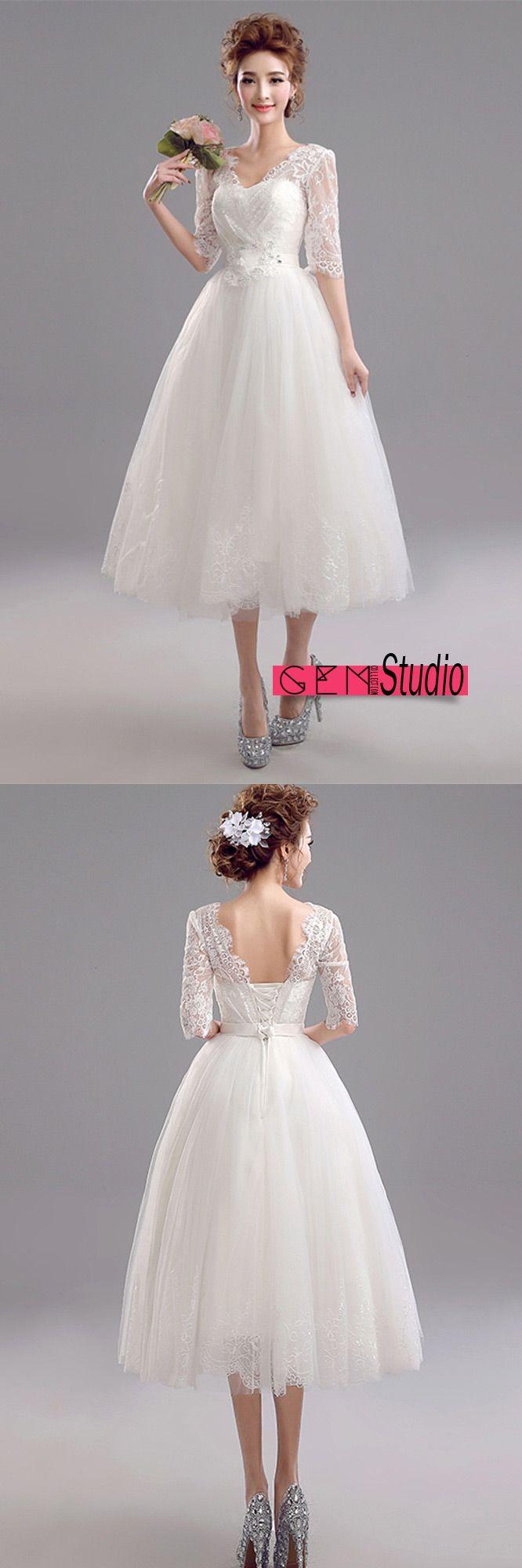 Vintage tea length lace wedding dress with half sleeves sweet