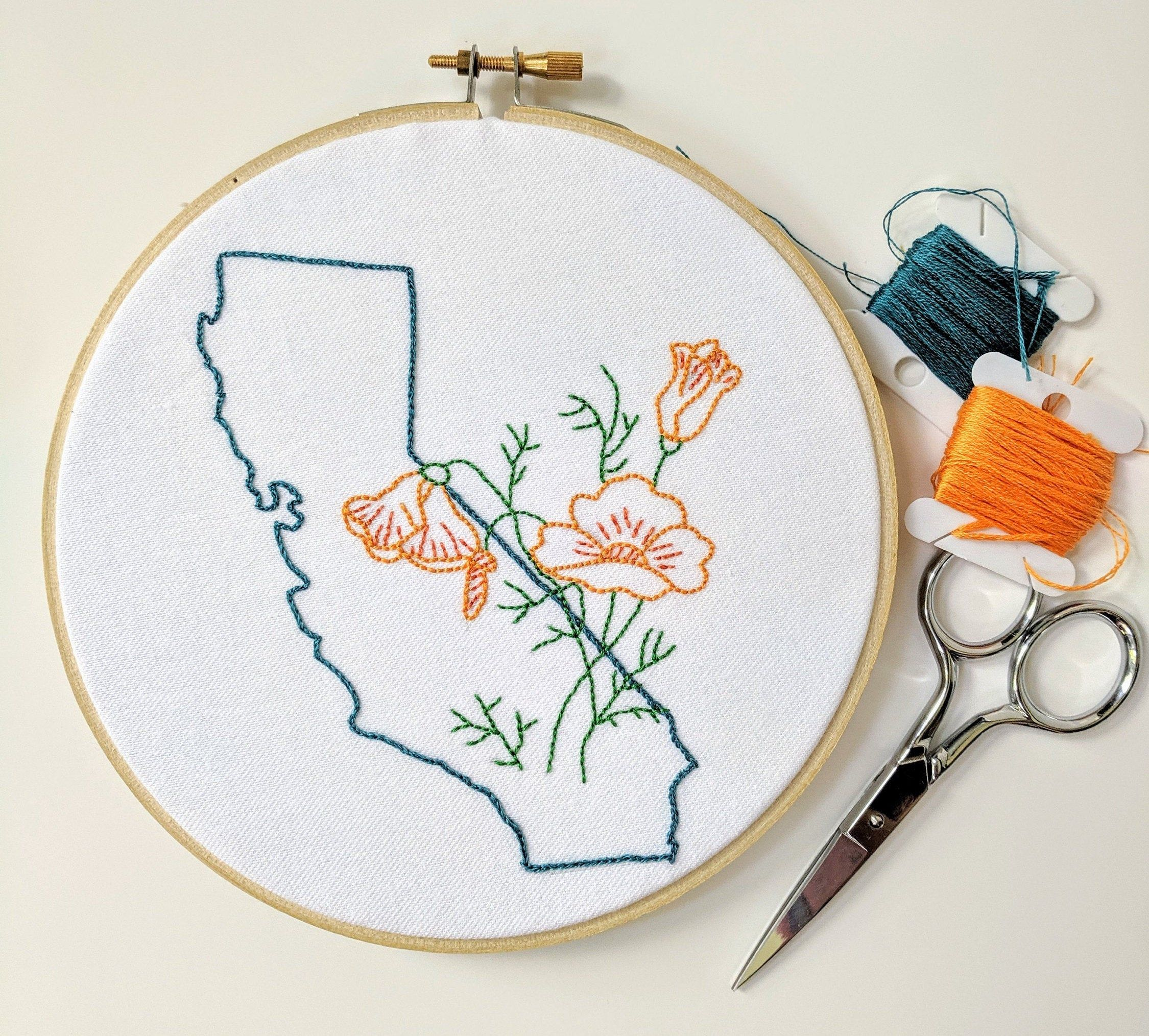 Digital Hand Embroidery Pattern I State of California Outline with Poppies I Easy Beginner Pattern