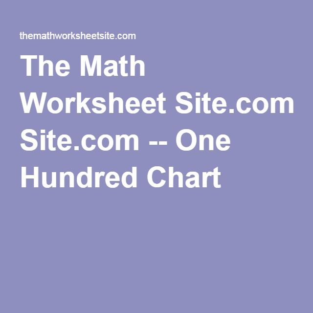 The Math Worksheet Site One Hundred Chart – The Maths Worksheet Site